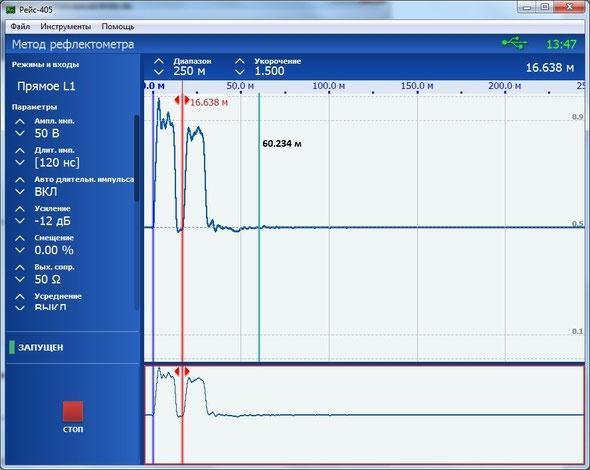 Рефлектометр компьютерный РЕЙС-405/1 Окно программы с активным процессом измерения в Методе рефлектометра