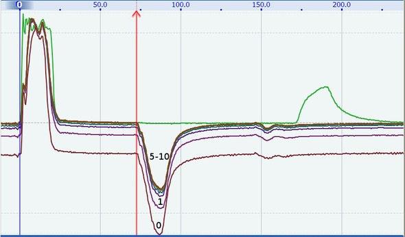 Рефлектометр компьютерный РЕЙС-405/1 Пример считывания 10 рефлектограмм во время одного дугового разряда. Зеленая рефлектограмма снята до дугового разряда
