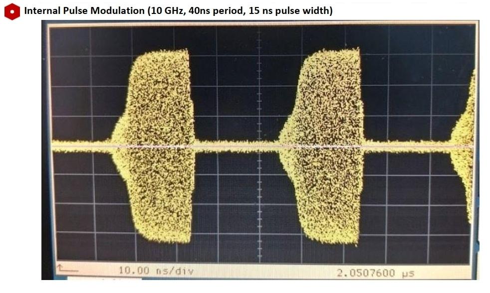 Внутренняя импульсная модуляция (10 ГГц, период 40 нс, ширина импульса 15 нс)