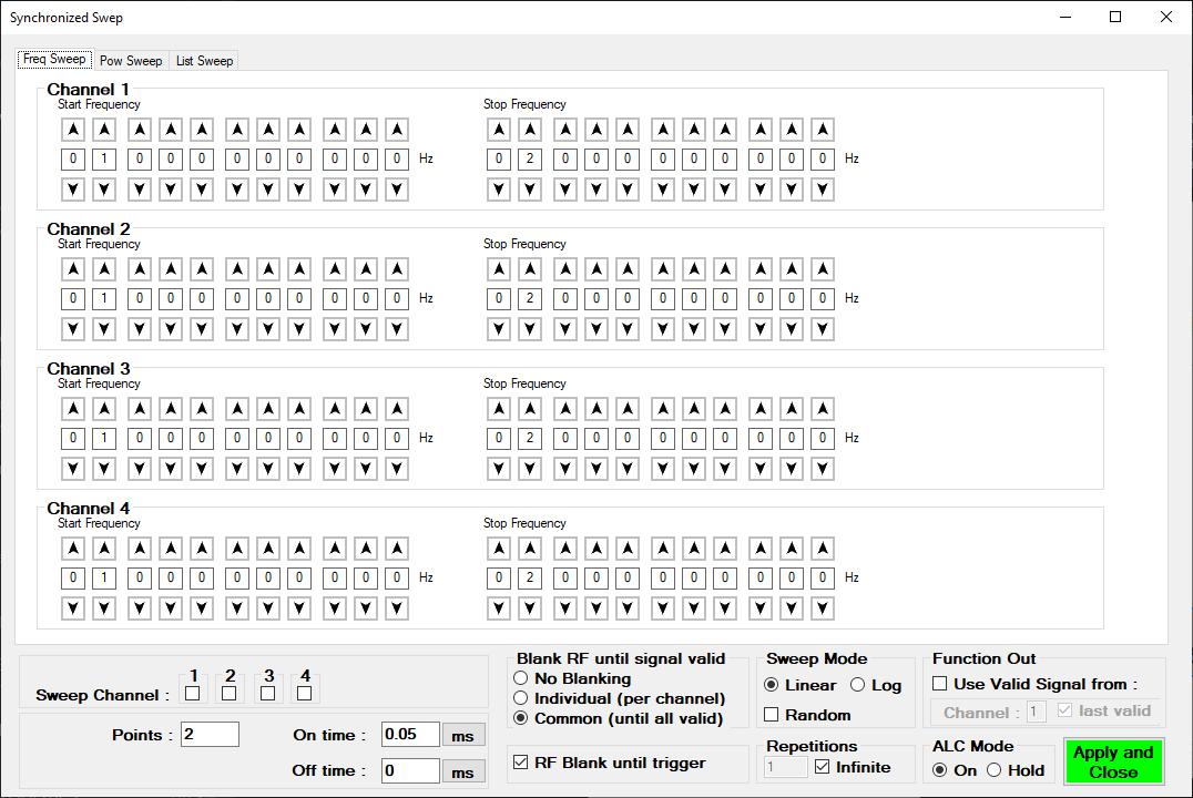 Интерфейс синхронного свипирования генератора MCSG40-ULN-4